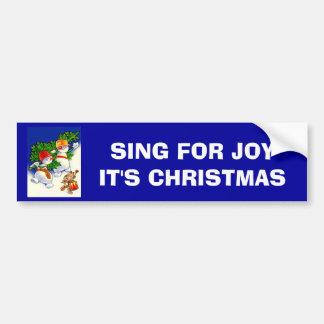 Vintage Christmas, Snowman band Bumper Sticker