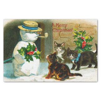 Vintage Christmas snowman cats party tissue Tissue Paper