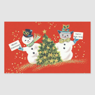 Vintage Christmas Snowman Rectangle Stickers