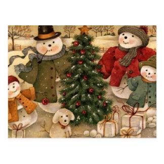 Vintage Christmas Snowmen Postcard
