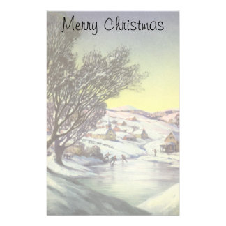 Vintage Christmas, Snowscape with Frozen Lake Stationery