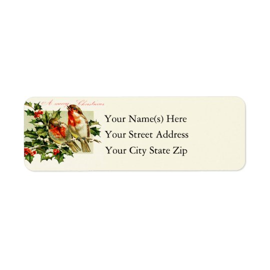 Vintage Christmas Songbirds Return Address Label