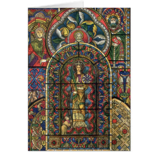 Vintage Christmas, Stained Glass Window in Church Greeting Card