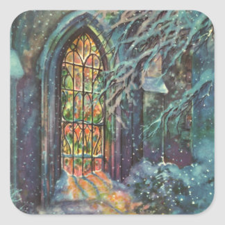 Vintage Christmas, Stained Glass Window in Church Square Sticker