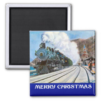 Vintage Christmas,  Steam train at the Station Square Magnet