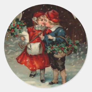 Vintage Christmas Sticker, Ellen Clapsaddle Kids Classic Round Sticker