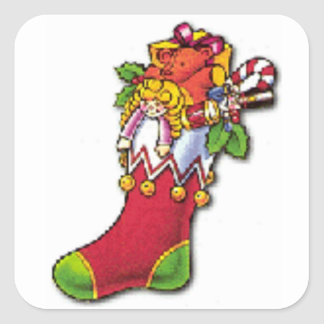 Vintage Christmas Stocking Full of Toys Square Sticker