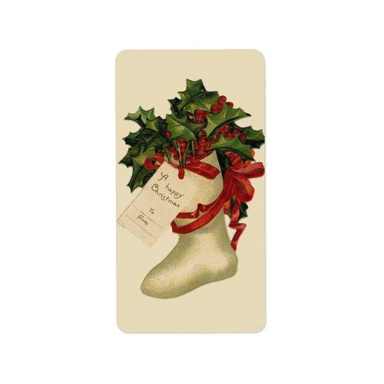 Vintage Christmas Stocking Gift Tag Avery Label Address Label