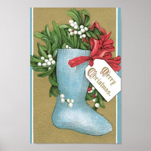 Vintage christmas stocking poster zazzle