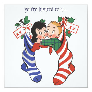 Vintage Christmas Stockings with Cute Children 13 Cm X 13 Cm Square Invitation Card