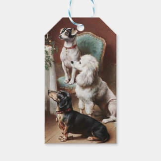 Vintage Christmas Tag, Dogs at Christmas Gift Tags