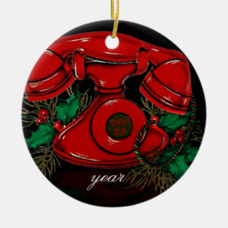 Vintage Christmas Telephone Ornament