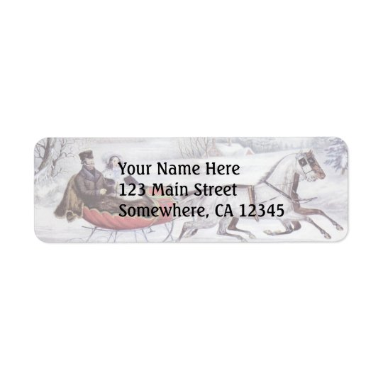Vintage Christmas, The Road Winter, Sleigh Horse Return Address Label