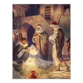 Vintage Christmas, Three Shepherds and Baby Jesus 11 Cm X 14 Cm Invitation Card