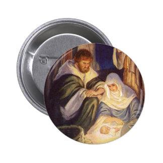 Vintage Christmas, Three Shepherds and Baby Jesus 6 Cm Round Badge