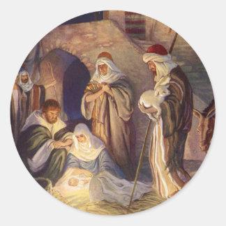 Vintage Christmas, Three Shepherds and Baby Jesus Round Sticker
