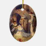 Vintage Christmas, Three Shepherds and Jesus Ornament