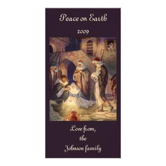 Vintage Christmas, Three Shepherds and Jesus Custom Photo Card