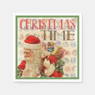 Vintage Christmas Time Santa Claus Disposable Napkin