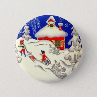 Vintage Christmas, Tobogganing on the hill 6 Cm Round Badge
