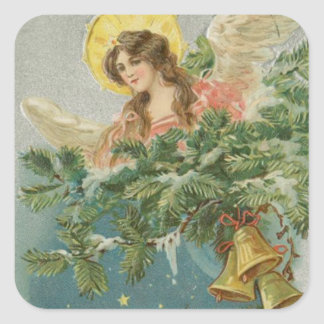 Vintage Christmas Town Angel Square Sticker