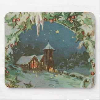 Vintage Christmas Town with Children Mouse Pad