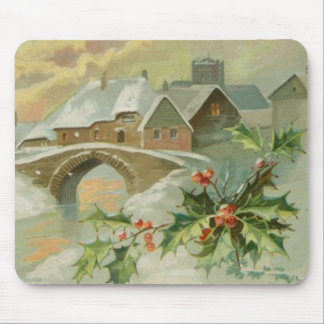 Vintage Christmas Town with Holly Mouse Pad