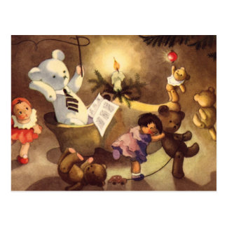 Vintage Christmas Toys, Dancing Dolls, Teddy Bears Postcard