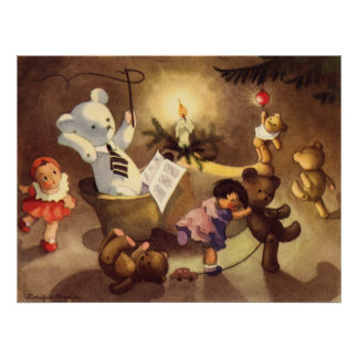 Vintage Christmas Toys, Dancing Dolls, Teddy Bears Poster
