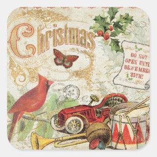 Vintage Christmas Toys Square Sticker