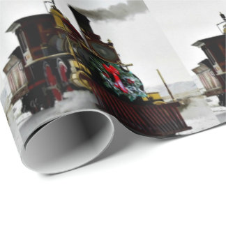 "Vintage Christmas Train Wrapping Paper, 30"" x 6' Wrapping Paper"