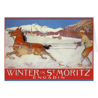 Vintage  Christmas, Travel Poster for Switzerland Card