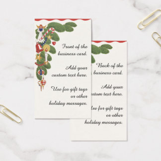 Vintage Christmas Tree and Angel Decorative Border Business Card