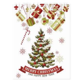Vintage Christmas Tree and Gifts Postcard
