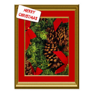 Vintage  Christmas tree and pine cones Postcard
