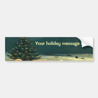 Vintage Christmas Tree at Night, Winter Snowscape Bumper Stickers