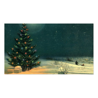 Vintage Christmas Tree at Night, Winter Snowscape Business Card Templates