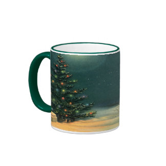 Vintage Christmas Tree at Night, Winter Snowscape Coffee Mugs
