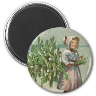Vintage Christmas Tree cutting 6 Cm Round Magnet