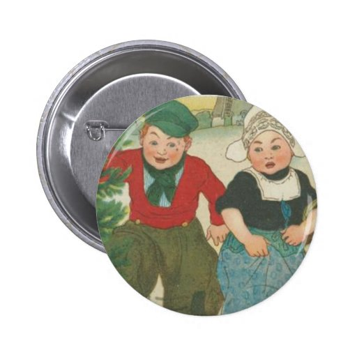 Vintage Christmas tree cutting children Pin