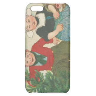 Vintage Christmas tree cutting children iPhone 5C Cases