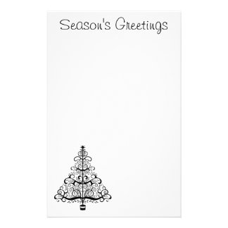 Vintage Christmas Tree Decorative Victorian Scroll Custom Stationery