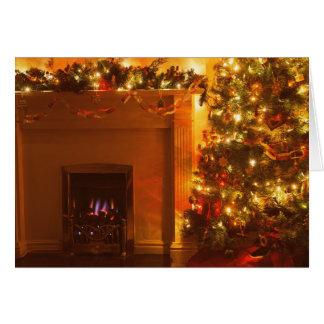 Vintage Christmas Tree Fireplace Card