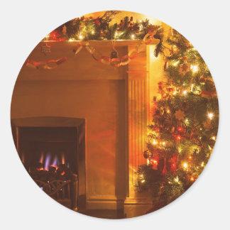 Vintage Christmas Tree Fireplace Round Sticker