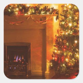 Vintage Christmas Tree Fireplace Square Sticker