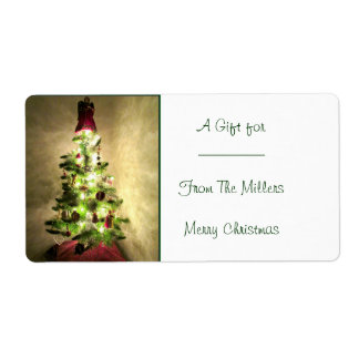 Vintage Christmas Tree Gift Label Shipping Label