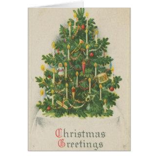 Vintage Christmas Tree Greetings Greeting Card