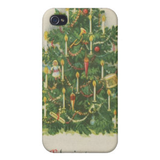 Vintage Christmas Tree Greetings Cases For iPhone 4