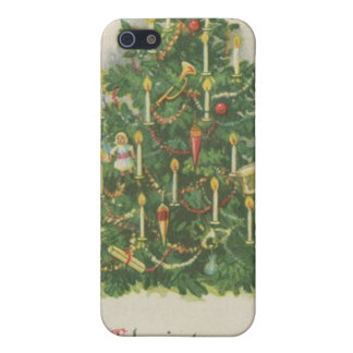 Vintage Christmas Tree Greetings Cases For iPhone 5