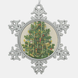 Vintage Christmas Tree Greetings Pewter Snowflake Decoration